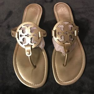Tory Burch Miller Logo Metallic Gold Leather 12